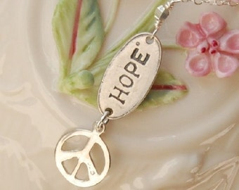 Hope Charm Necklace, Peace Charm Necklace, Delicate Necklace, Sterling Silver Peace and Hope Charms, The Hope For Peace Necklace