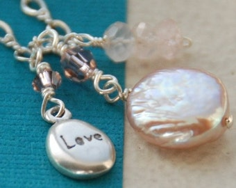 Charm Necklace, Pink Pearl Necklace, Love Charm, Coin Pearl, Rose Quartz, Swarovski Crystals in Sterling Silver - The Loves Whisper Necklace
