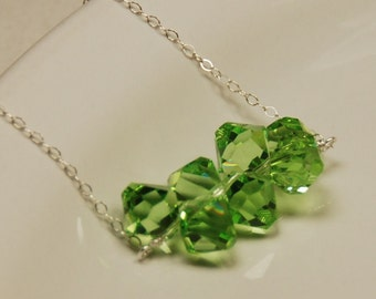 Green Crystal Necklace, Swarovski Elements Necklace, Swarovski Crystals in Sterling Silver, Delicate Necklace - The Rain Forest Necklace