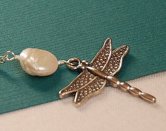 Dragonfly Necklace, Delicate Charm Necklace, Dragonfly Charm & Coin Pearl in Sterling Silver, Everyday Necklace,The Dragonfly Necklace