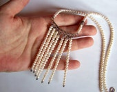 White Pearl Necklace Sterling Silver, Stone of Truth, Fringe Unique Boho Feminine Tassel Tassle jewelry 925 bridal OOAK Faith Loyalty