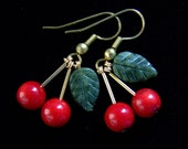 Coral Cherry Earrings with Jade Leaves in Solid Brass