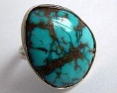 Offer Big Natural Turquoise Adjustable Ring