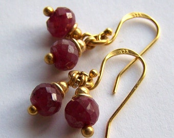 Faceted Ruby Earrings Gold Vermeil or Sterling silver, Small dark Red faceted natural Stone Gemstone PinkOwlJewelry Handmade July Birthstone