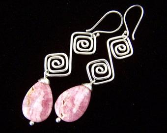 Rhodochrosite Earrings Sterling Silver Natural Stone Pink Drop Earrings Rustic stone tribal style earrings pink jewelry pretty in pink
