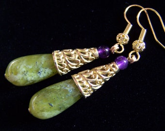 "2"" Peridot Green Jade earrings Purple Amethyst Bali Handmade Brass Cones Earrings"