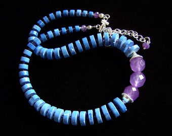 Magnesite Amethyst Chalcedony Necklace Choker Sterling Silver, Colorful Purple Blue necklace Adjustable Mens Womens hippie surfer bohemian