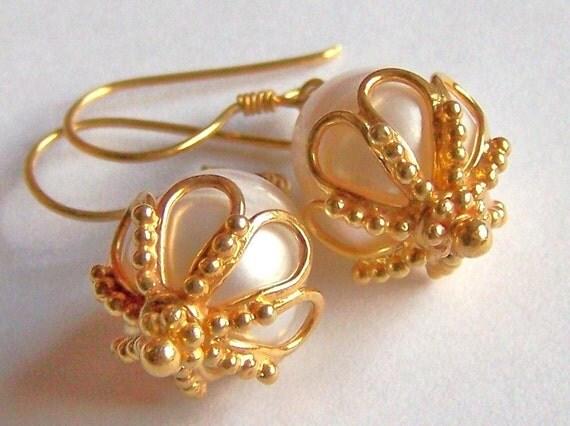 Freshwater Pearl Earrings Gold Vermeil granulation earrings byzantine ...