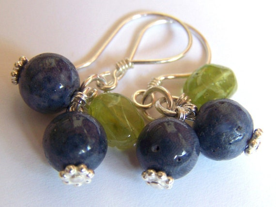 Coral and Peridot Blueberry Earrings in Sterling Silver Fruit