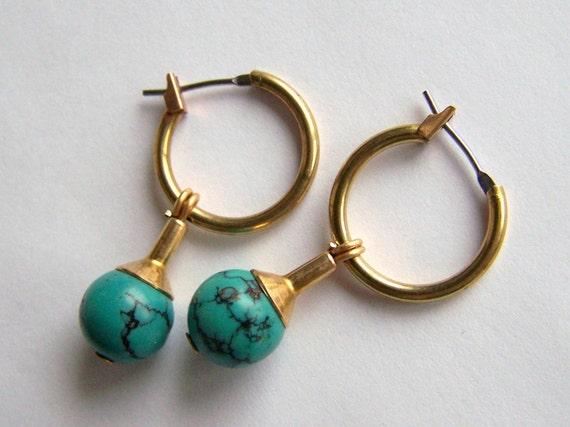 Natural Turquoise Hoop Earrings in Brass
