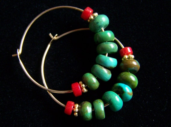 Natural Turquoise and Coral Gold Filled Hoop Earrings