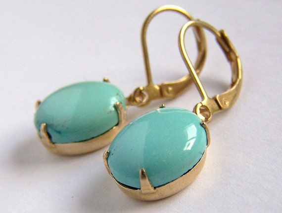 Cased Natural Blue Turquoise Earrings with Leverbacks Handmade Gorgeous