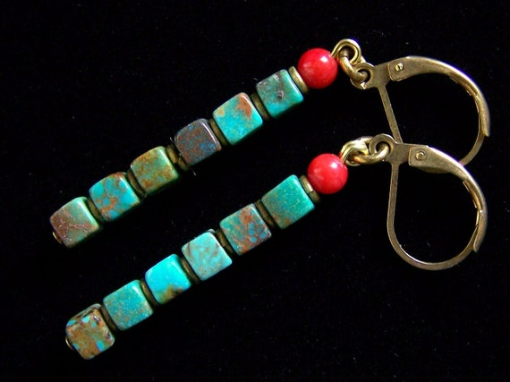 Natural Turquoise cubes with Coral in Solid Brass Earrings with Leverbacks