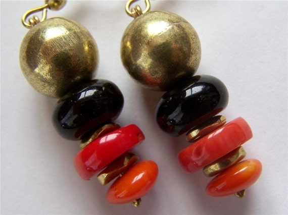 BIG Black Onyx with Red and Orange Coral Earrings in Brass Shaded Colorful Gorgeous