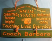 Personalized Wooden Swim Coach Wall Hanging