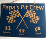 Grandpa's Pit Crew 5in x 7in Personalized Wooden Sign (Dad, Papa, Uncle, or other)