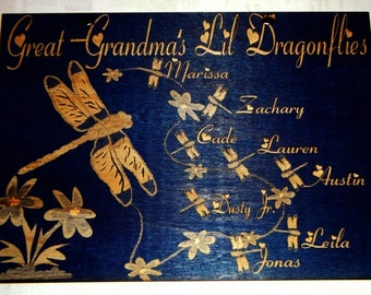 Grandmas/Mommy/ or aunties Lil Dragonflies Personalized 5in x 7in Wooden Sign