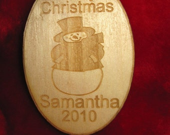 Personalized wooden snowman christmas ornament or tag