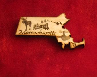 Massachusetts State Wooden Customized Magnet