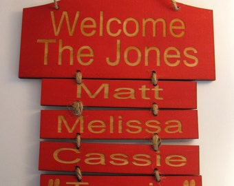 Personalized Wooden Family Wall Hanging Large With 6 Hanging Nameplates