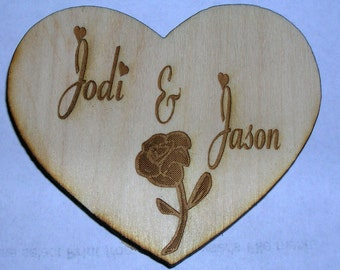 Personalized Heart  Wooden Engraved Magnet