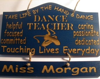 Personalized Wooden Dance Ballet Teacher Wall Hanging