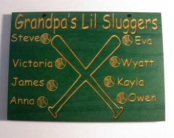Customized wooden sign Grandpa's baseball team  (Mom, Dad, Uncle, Grampy, Nana, Aunt, etc.)
