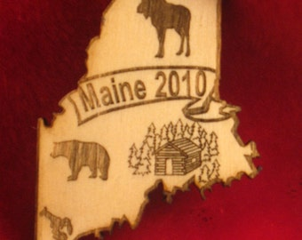 Maine State Wooden Customized Magnet