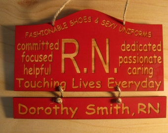 Personalized Wooden Nurse Wooden Wall Hanging with 2 hanging slats