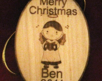 Personalized wooden christmas singing boy angel ornament or gift tag