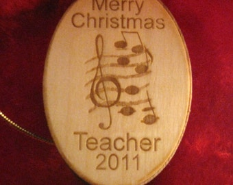 Personalized wooden christmas music notes ornament tag