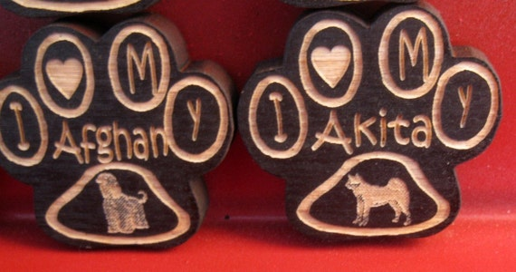 Wooden Paw Print Magnets Dog Breeds