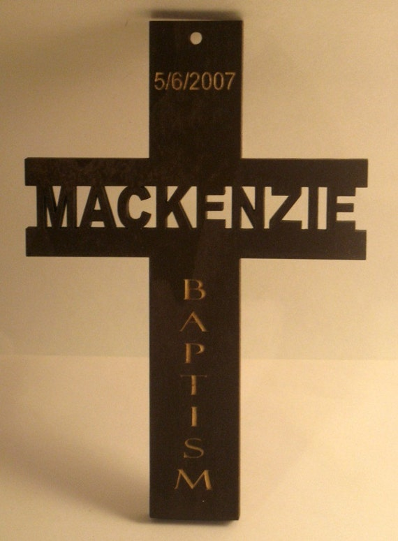 Personalized wooden cross sign for christening, communion, confirmation etc.
