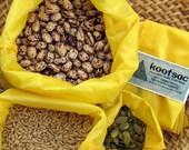 Reusable food bag, reusable produce bags, bulk bin bags, food pouch, ripstop nylon bags, reusable grain bag, washable food bags, yellow