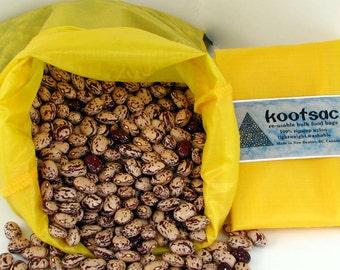 Reusable bulk food bag, reusable produce bag, bulk bins, large food pouch, rice bag, grain bag, ripstop nylon, large food bag, yellow