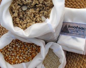 Reusable eco food bags, reusable food pouch,bulk bin shopping, natural biodegradable silk, 3 silk bags, small, medium, large
