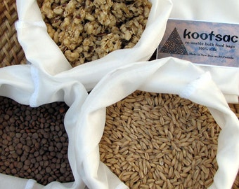 Eco bag, reusable bulk food bags, size large, bulk bins, natural silk, biodegradable bags, food pouch, lightweight food bags, set of 3 bags