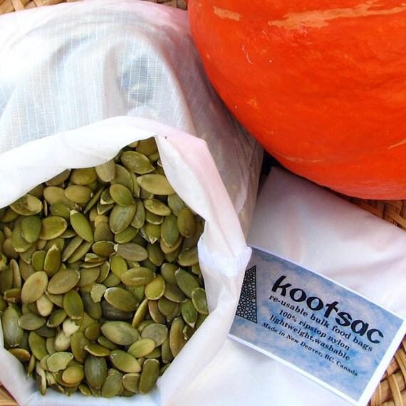 Reusable food bag, reusable snack bag, food pouch, nut seed bag, bulk bin, ripstop nylon bag, white, size medium