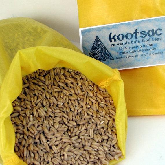 Reusable food pouch, reusable produce bag, bulk food bag, travel food bag, grain rice bag, ripstop nylon bag,medium size, yellow