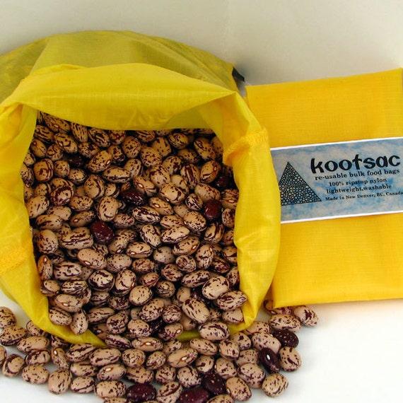 Reusable bulk food bag, reusable produce bag, bulk bin bag, food pouch, travel food bag, large nylon bag, ripstop nylon bag, yellow