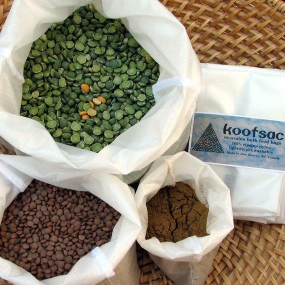 Reusable food bags, food pouch, food sacks, lightweight ripstop nylon, bulk bins, 3 bags, small, medium, large, white