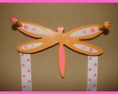 Girl's Orange and Pink Dragonfly Hair Bow Holder AND holds Ponytail Holders too