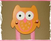 Owl Hair Accessory Holder in Orange and Hot Pink