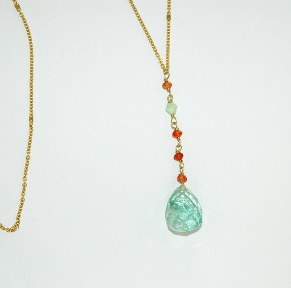 Long Carnelian Necklace with Green Quartz, Swarovski Crystals and 14k Gold Filled Chain