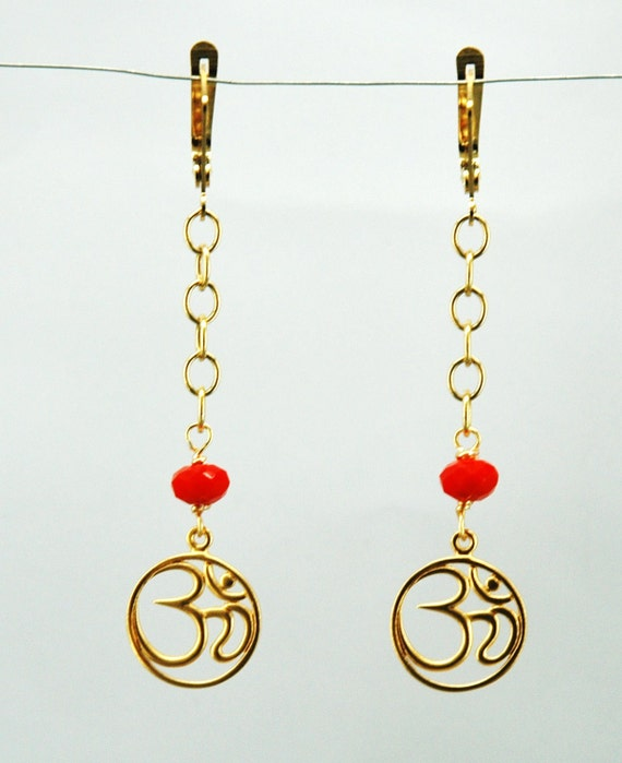 Sale was 26.00 Now 13.00 Om Symbol 14k Gold Chain Earrings Vermeil Gold Charm