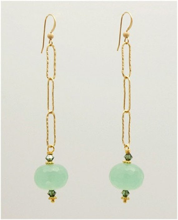 Sale- Was 32.00 and Now 22.00-Green Chalcedony Earrings with 14k Gold Filled Hammered Chain and Swarovski Crystals