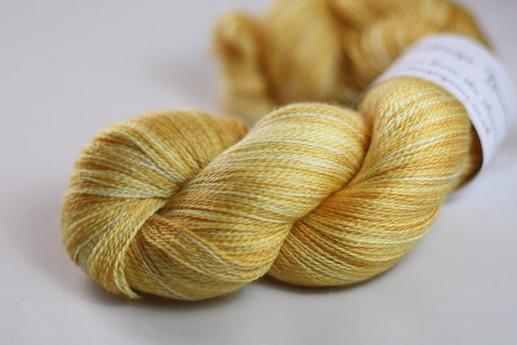 Theseus Lace in Harvest Gold (Lot 140512) - hand dyed superwash merino/silk laceweight knitting yarn wool - UK Seller