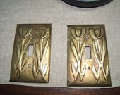 Pair of Stylized Poppies Light Switchplates