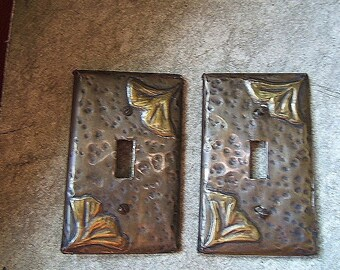 Pair Ginkgo Leaf Brass Light Switchplates