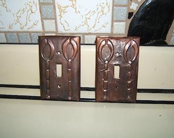 Pair of Craftsman Geometric Horseshoe Switchplates